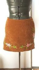 Jungle Cat Boho mini light brown faux suede floral print embroidered  skirt S