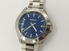 Fossil Retro Traveler Men's Blue Dial Silver Stainless Steel Watch AM4442