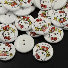 5 Wooden 18mm Hello Kitty Pattern White 2 Hole  Buttons. (BOX86)