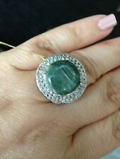 Siberian Seraphinite, White Topaz Ring in Platinum Overlay Sterling Ring