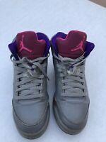 Nike Air Jordan 5 Retro GS Cement Grey Pink Rasberry Red 440892009 Size 7Y
