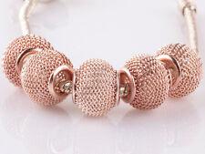 5pcs Rose Gold hollow big hole spacer beads fit Charm European Bracelet #B943