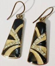 boucles d'oreilles percées bijou vintage émail beige noir cristal diamant * 5205
