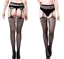 Ladies Women Fancy Black Lace Fishnet Faux Gartered Pantyhose Tights Patten 8-12