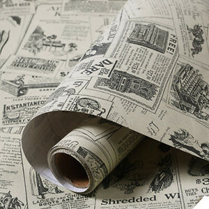Vintage Newspaper Wallpaper Self Adhesive Wall Stickers Furniture Wrap Bedroom