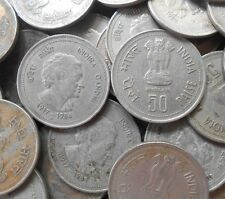 10 Coins Lot - 50 Paise (Indira Gandhi) (1985) Commemorative: Death of Indira