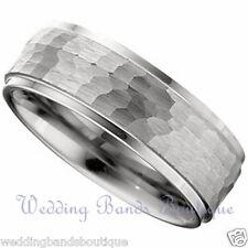 Finish Comfort Fit Step Edges Ring 7mm 10K White Gold Mens Wedding Band Hammered