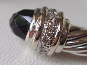 $3550 DAVID YURMAN 18K WHITE GOLD ,SS DIAMOND BLACK ONYX BRACELET MEDIUM