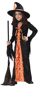 Witch Mystic Orange Child Girls Costume Long Black Fancy Dress Funworld