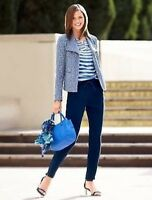 NWT $179 Talbots PXL  Blue Tweed Boucle Casual Jacket Fly Away Front 16P 18P