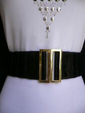 New Women Belt Wide Black Faux Leather Crocodile Stamp Gold Buckle XS S M L