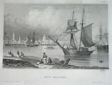 1850 UNUSUAL ORIGINAL NEW ORLEAN LOUISIANA Harbour UNITED STATES  nice engraving