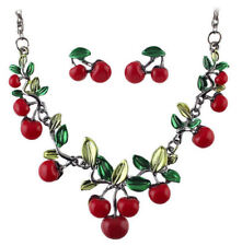 Cherry Fruit Necklace and Matching Cherry Earrings Jewellery Gift Set