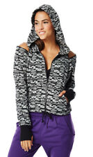 Zumba Zip Up Cold Shoulders Jacket Hoodie Medium   NEW