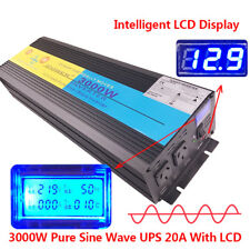 3000W UPS 6000W peak Pure Sine Wave Power Inverter 12V 240V LCD With 20A Charger