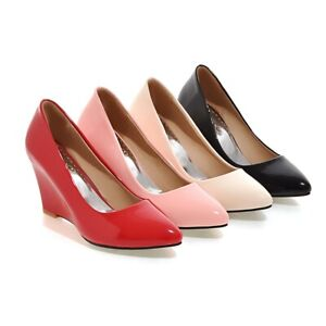 Womens High Wedge Heel Shoes Black/Beige/Pink/Red Faux Leather Pointed Toe Pumps
