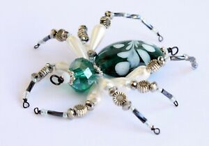 Venetian Lampwork Glass Beaded Spider - Ornament / Christmas Tree Decoration