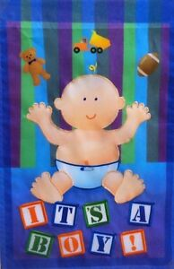 """It's a Boy Outdoor Garden Flag by Premier 12""""x18"""", #1799  New Baby"""