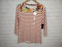 Kim Rogers women's size Small 3/4 Sleeve Floral and Striped Top NWT