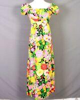 vtg 60s LionTree Vivid DayGlo Floral Barkcloth Dress Hawaiian Cap Sleeve 32 bust