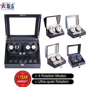 Luxury Automatic Dual Motor Watch Winder Display Box 4+6/4+0 Leather Storage