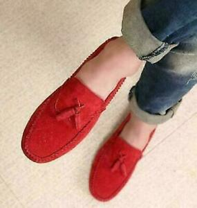 classic Mens Suede Loafters Tassels Causal Slip On comfy gommino Shoes MOG