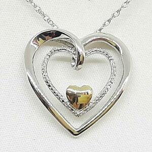 Genuine .02ctw H-SI Diamond Solid 10K Rose Gold 925 Silver Heart Necklace