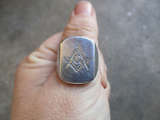 vintage Masonic Signet Style Mexican Biker Ring 10.5 Mexico