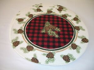 New! S/4 Braided Cotton Country Pinecones Kitchen Placemats Dining Place Mats