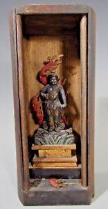 Japan Japanese Gilt Polychrome Wood Buddhist Altar in Zushi case ca. 19-20th c.