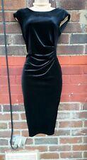 BLACK VELVET SHIFT DRESS BODYCON RUCHED VELOUR EVENING PARTY size 12 strechy