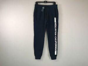 Men's Hollister Drawstring Waist Ribbed Hem Skinny Jogger Sweatpants-Size S-Blue