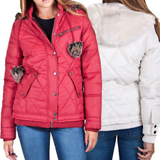 Bellfield Womens Balloch Padded Jacket Faux Fur Hooded Quilted Warm Winter Coat