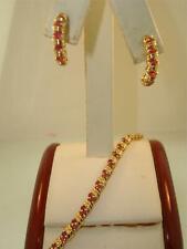 BEAUTIFUL 14K SOLID GOLD APROX. 3/4 CTW RUBY BRACELET & MATCHING EARRINGS!