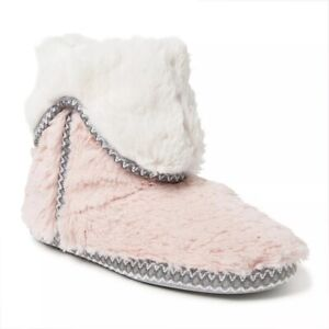 Dearfoams Pink Fuzzy Fold Over Indoor/Outdoor Boot Fur Slippers - Large 9-10
