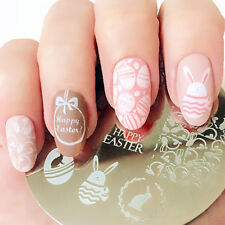 Nail Art Stamping Plate Image Decoration Happy Easter Bunny Rabbit Eggs (BP60A)