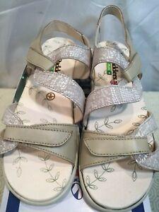 Padders Plus Womens Sunseek Leather Sandals Grey UK size 6 / 2E Width RRP £69