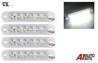4X 12-24V 6 SMD LED FRONT SIDE MARKER WHITE LIGHTS TRAILER TRUCK LORRY