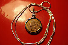 "pre 1907 Indian Head Penny Pendant 28"" 925 Sterling Silver Snake Chain"