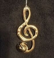 Brass Treble Clef Musical Christmas Ornament w/ Jingle Bell By Midwest