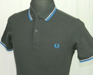 Men's Fred Perry Short Sleeved Pique Cotton Black Polo Shirt Slim Fit Small