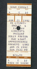 Original 1992 Dolly Parton Unused Full Concert Ticket Lake Tahoe Jolene 9 to 5