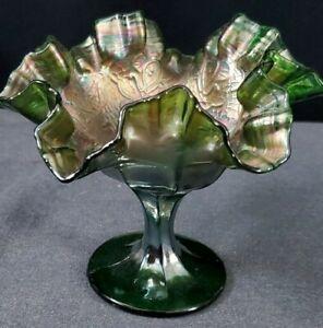 ANTIQUE FENTON? CARNIVAL GLASS RUFFLED RIM COMPOTE w LATTICE & WEB PATTERN