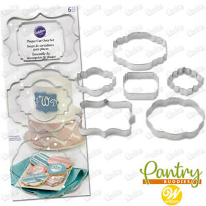 Wilton Plaque Cookie Cutter & Fondant Sugarpaste Shape Cutters - Full Set of 6