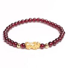 NEW Pure 24K Yellow Gold Wealth Pixiu Gold Bead with Garnet Beads Bracelet