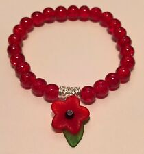 CHARITY POPPY APPEAL - GLASS CRACKLE BEAD STRETCH BRACELET + LUCITE POPPY CHARM