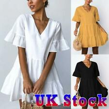 Womens Summer V Neck Smock Dress Ladies Holiday Beach Ruffle Frill Mini Dresses
