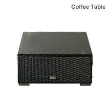 Patio Outdoor Coffee Table Glass Top Black Rattan Wicker Garden Furniture Decor