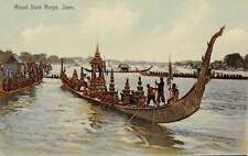 Thailand ~ Royal Barge & Its Crew On The River, Other Boats ~ c 1904-14