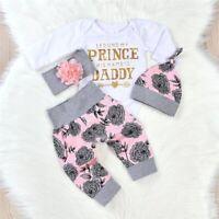 Newborn Kid Baby Girls 3Pcs Clothes Jumpsuit Romper Bodysuit Pants Outfits Set